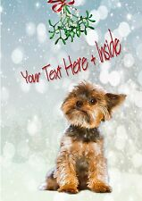 YORKIE YORKSHIRE TERRIER CHRISTMAS CARD - Personalised + illustrated inside too