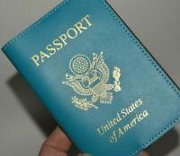 Baekgaard Light Blue Leather USA United States of America PASSPORT Holder Case