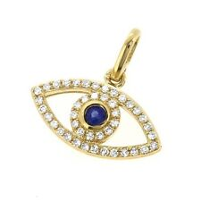 Dainty Evil Eye Pendant Sapphire Diamond Good Luck Charm 14k Yellow Gold