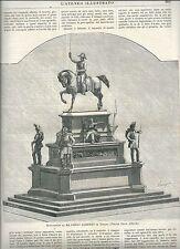 1880 TORINO Monumento a Re Carlo Alberto Ateneo Illustrato xilografia