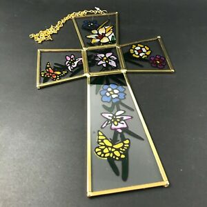 9009-15 Stained Glass Green Cross Night Light New