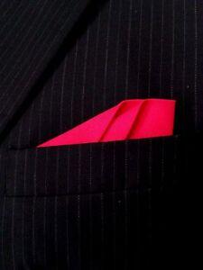 POCKET SQUARE Red Dbl Fold Angled Point CUSTOM - Pre-folded & Sewn
