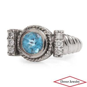 Estate Diamond Blue Topaz 14K Gold Elegant Cable Style Cocktail Ring 5.8 Gr NR