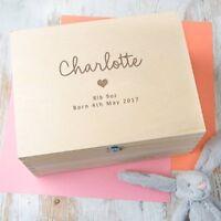 Personalised Baby Girl Keepsake Box Memory Box Large Wooden Teeth Time Capsule