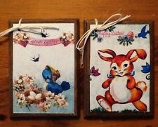 5 Handcrafted Wooden Retro EASTER Ornaments/VINTAGE EASTER Hang Tags SET::2