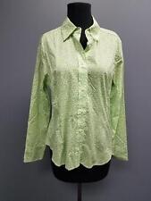 SAKS FIFTH AVENUE Green White Floral Leaf Print Button Down Blouse Sz 12 DD5864
