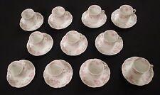 Haviland Limoges Chocolate Cups Pink Flower Schleiger 32g  Blank 204  Set of 11