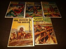 5 Issue Lot Of Classics Illustrated Frankenstein Lorna Doone Kidnapped Sea Wolf