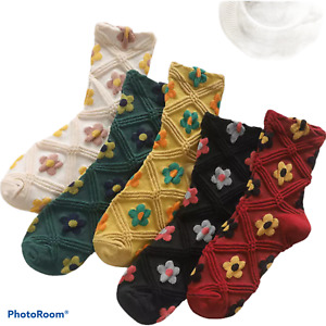 5 pairs women ladies embroidered flower soft cotton comfortable crew style socks