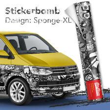 XL Stickerbomb-Folie Sticker Bomb Car-wrapping Luftkanal Auto-folie schwarz-weiß