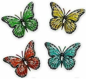Garden Butterfly Decorative Metal Hangers for fence, shed or wall - set of 4 D1
