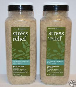 2 BATH BODY WORKS AROMATHERAPY STRESS RELIEF EUCALYPTUS SPEARMINT SOAK SALT FIZZ