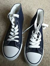 New Look blue canvas hi top trainers size 6 New