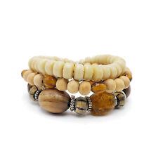 Exotic Prayer Bead Bracelets Resin Wood Amber Glass 3pc Wholesale Lot EB-BR390
