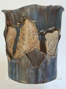 Vase en Céramique Artistique décor de 2 feuilles en creux Kunst Handwerk THOMS
