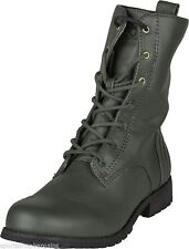 No Pattern Lace Up Block Combat Women's Boots