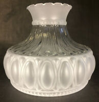 "New 10"" Satin Crystal Glass Lamp Shade w/ Clear Panel Designed for Aladdin SH526"