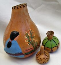 Vintage Hand Crafted Natural Gourd Native American Folk Art Signed