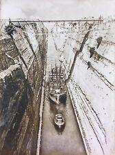 Vtg Sepia Print Photo Corinth Canal Greece Ship and Railroad Bridge Year Unknown