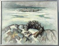 Folke Henell - Coast in the Winter - Expressive - Swedish Painter - 73 x 91 CM
