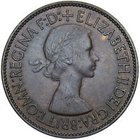 1953 PENNY - ELIZABETH II BRITISH BRONZE COIN - V NICE