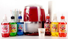 RedLarge Snow cone Maker Machine Frozen Ice Shaver Kit, 6 flavours, cups, straws