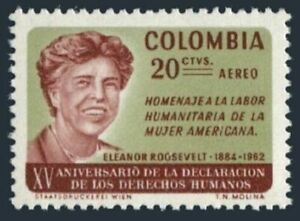 Colombia C462 four stamps,MNH Michel 1055. Eleanor Roosevelt,1884-1962.1964.