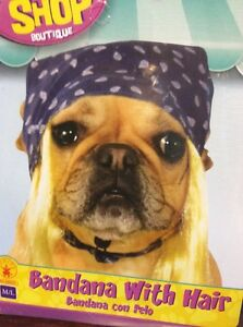 Motorcycle Bandana With Blonde Hair Halloween Costume For Dogs M/L