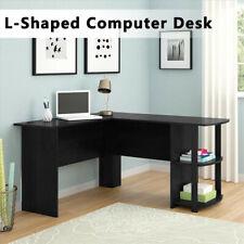 More details for black l-shaped computer desk corner pc table workstation home office w/ shelves