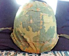 Vtg Military Helmet, Rear Seam, Swivel Bails, Westinghouse Liner & Camo Cover