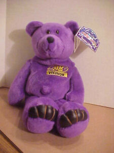 """Randy MOSS 1998 Limited Treasures Preview Edition MN Vikings 9"""" Beanie Bear"""