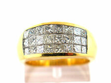 2.61 CT natural princess cut diamond ring VS/G 18K yellow gold