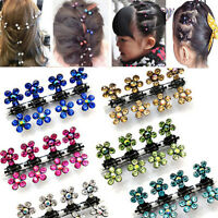 Lots 12 PCS Girls Sweet Rhinestone Crystal Flower Mini Hair Claws Clips Clamps