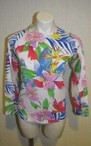IBKUL Rio White Floral Long Sleeve Golf Tennis Sun Top Shirt UPF 50 Womens Sz XS