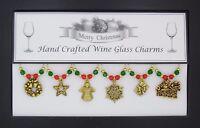 Christmas Set of 6 Gold Wine Glass Charms - Set 2 Angel Secret Santa Gift