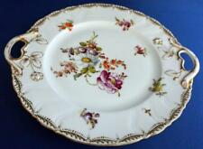 Antique Dresden Continental Porcelain Sandwich Plate  Hand Painted Flowers