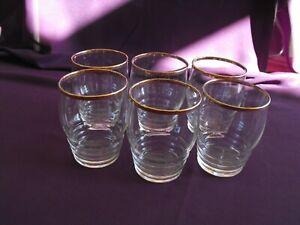 1950's Vintage Gold Rimmed Water Glasses