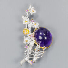 Unique Jewelry Design Amethyst Brooch Silver 925 Sterling  /APBJ-NB0003
