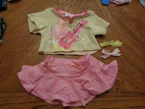BUILD-A-BEAR Hannah Montana shirt with pinks skirt and bows