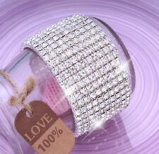 10 X Row Sparkling Shining Crystal Diamante Bracelet For Wedding Womens Bride