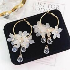 New Women Circle Acrylic Flower Crystal Dangle Ear Clip Earring Jewelry Gifts