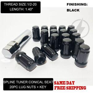 FIT FORD TAURUS EXPLORER FLEX MUSTANG SPLINE TUNER 1.4'' LUG NUT 1/2-20 BLACK 20