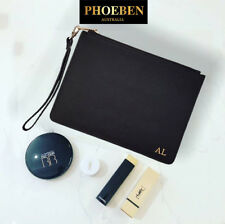 PERSONALISED MONOGRAM Womens Leather Black POUCH with DETACHABLE WRIST STRAP