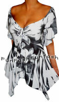 UT3 FUNFASH WHITE BLACK EMPIRE WAIST SLIMMING NEW TOP SHIRT Plus Size 2X 22 24