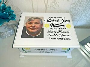 Ashes casket with  Photo Personalised urn memorial memory box LC18P