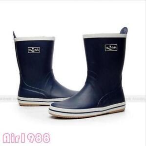 Men's Blue Rain Boots Work Shoes Rubber waterproof Slip-Resistant Boots US Size