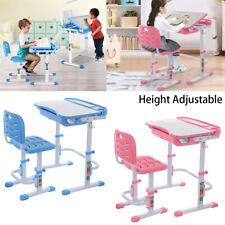 Adjustable Children's Desk Chair Set Child Study Desk Kids Study Table Pink/Blue