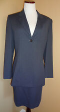 Women's Bill Blass Classic Blue-Gray One Button Jacket Skirt Suit in size 8