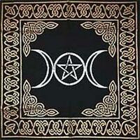 "Altar Tarot Cloth: Triple Goddess With Pentagram - 24"" x 24"" (Gold/Silver on"