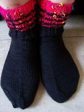Hand knitted socks, black with fuchsia tone trim (sizes 6-8)